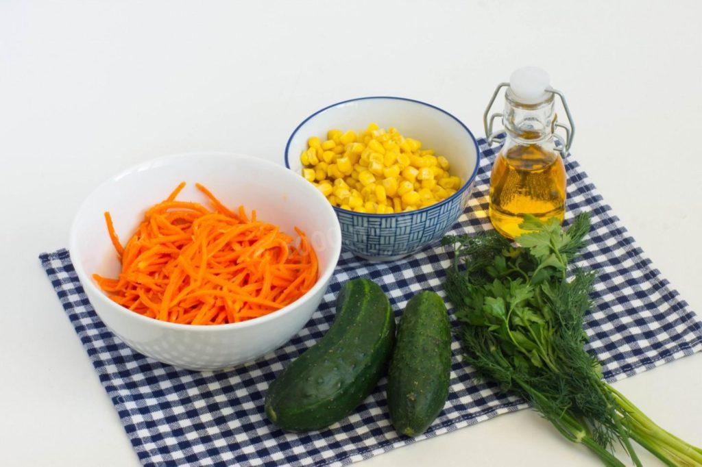 Рецепты салатов с морковью, огурцом, кукурузой