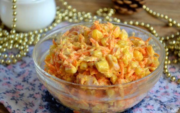салат корейский с курицей и кукурузой