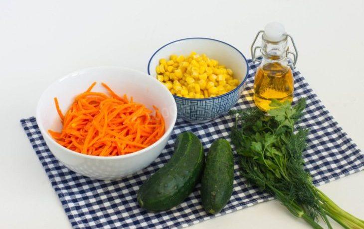 салат из огурцов, кукурузы и моркови