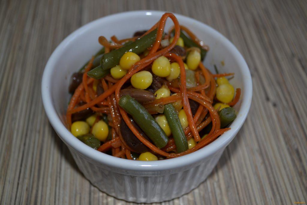 Рецепты салатов с фасолью, кукурузой и морковью, луком, чесноком