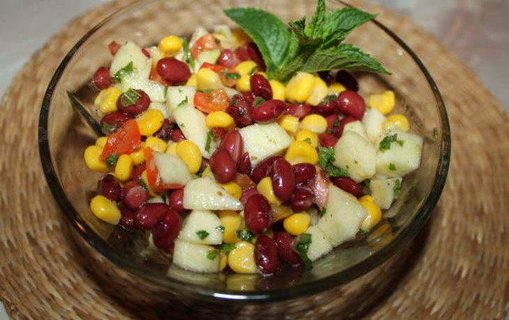 салат из красной фасоли и кукурузы консервированной
