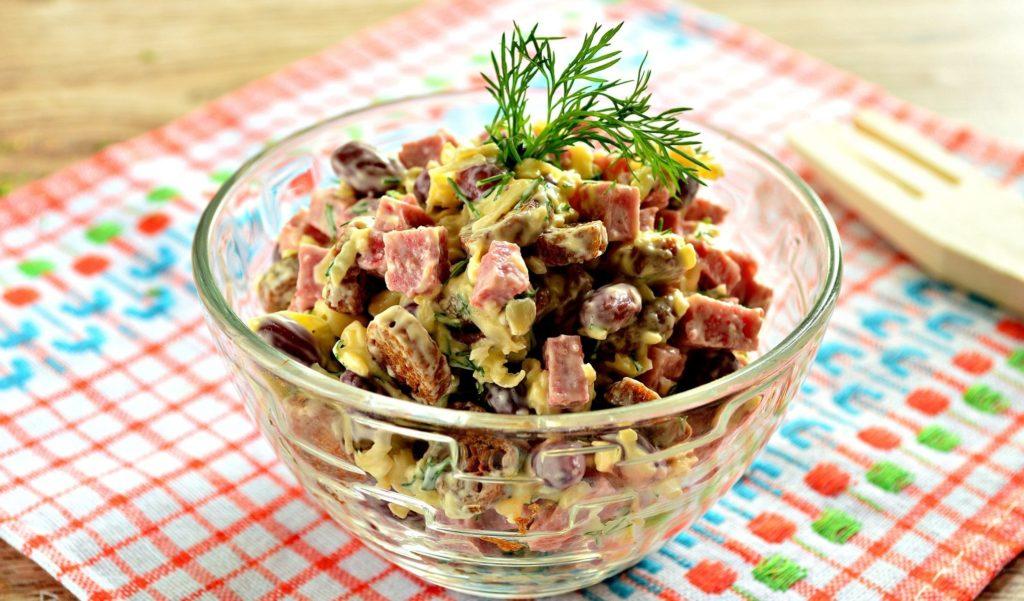 Рецепты салатов с ветчиной, кукурузой и фасолью, перцем