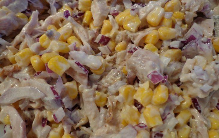 салат с языком и кукурузой рецепт