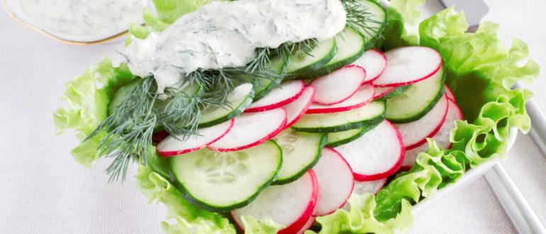 рецепты салатов с редиской и свежими огурцами